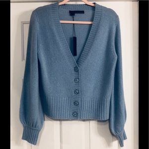 360 Cashmere Bell Sleeves Blue Cardigan